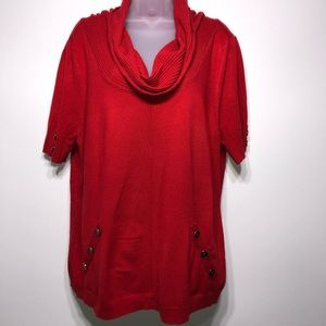 Soft Surroundings Red Cowl Neck Sweater Size 2X